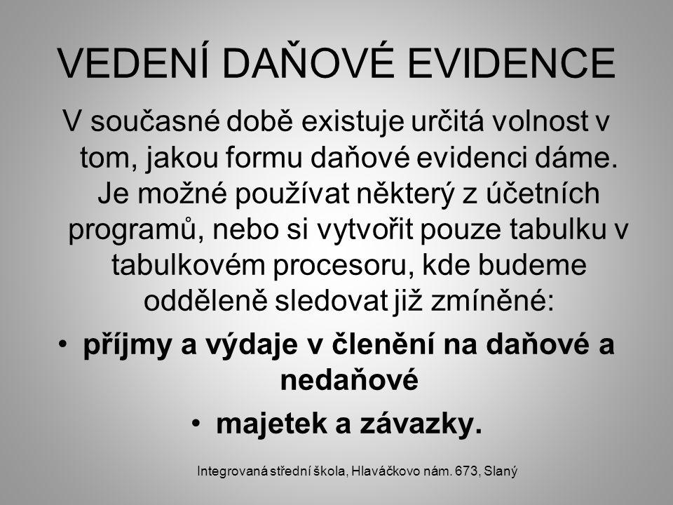 VEDENÍ DAŇOVÉ EVIDENCE V současné době existuje určitá volnost v tom, jakou formu daňové evidenci dáme. Je možné používat některý z účetních programů,