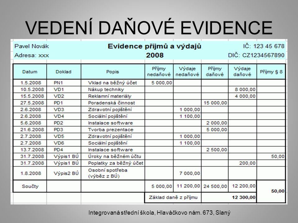 VEDENÍ DAŇOVÉ EVIDENCE Integrovaná střední škola, Hlaváčkovo nám. 673, Slaný