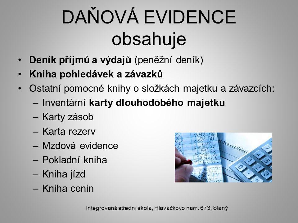 DAŇOVÁ EVIDENCE obsahuje Deník příjmů a výdajů (peněžní deník) Kniha pohledávek a závazků Ostatní pomocné knihy o složkách majetku a závazcích: –Inven