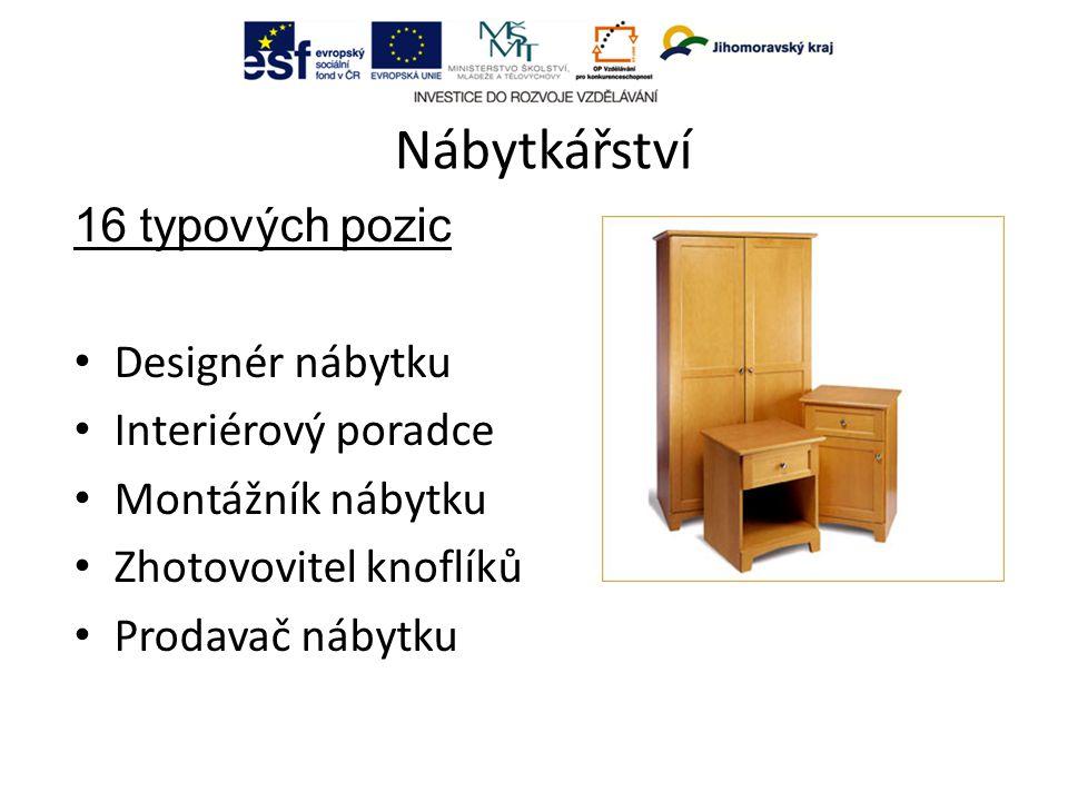 Nábytkářství 16 typových pozic Designér nábytku Interiérový poradce Montážník nábytku Zhotovovitel knoflíků Prodavač nábytku
