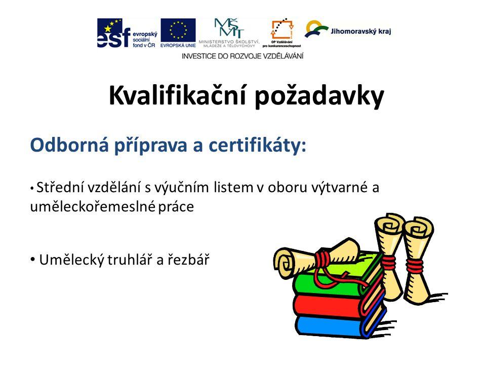 Kvalifikační požadavky Odborná příprava a certifikáty: Střední vzdělání s výučním listem v oboru výtvarné a uměleckořemeslné práce Umělecký truhlář a řezbář