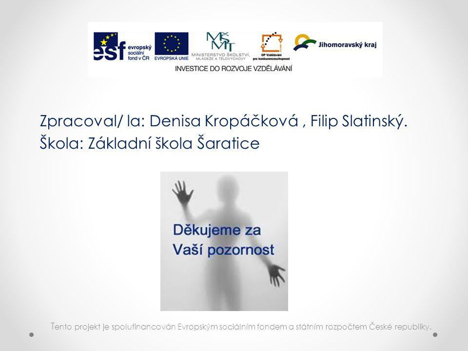 T ento projekt je spolufinancován Evropským sociálním fondem a státním rozpočtem České republiky. Zpracoval/ la: Denisa Kropáčková, Filip Slatinský. Š