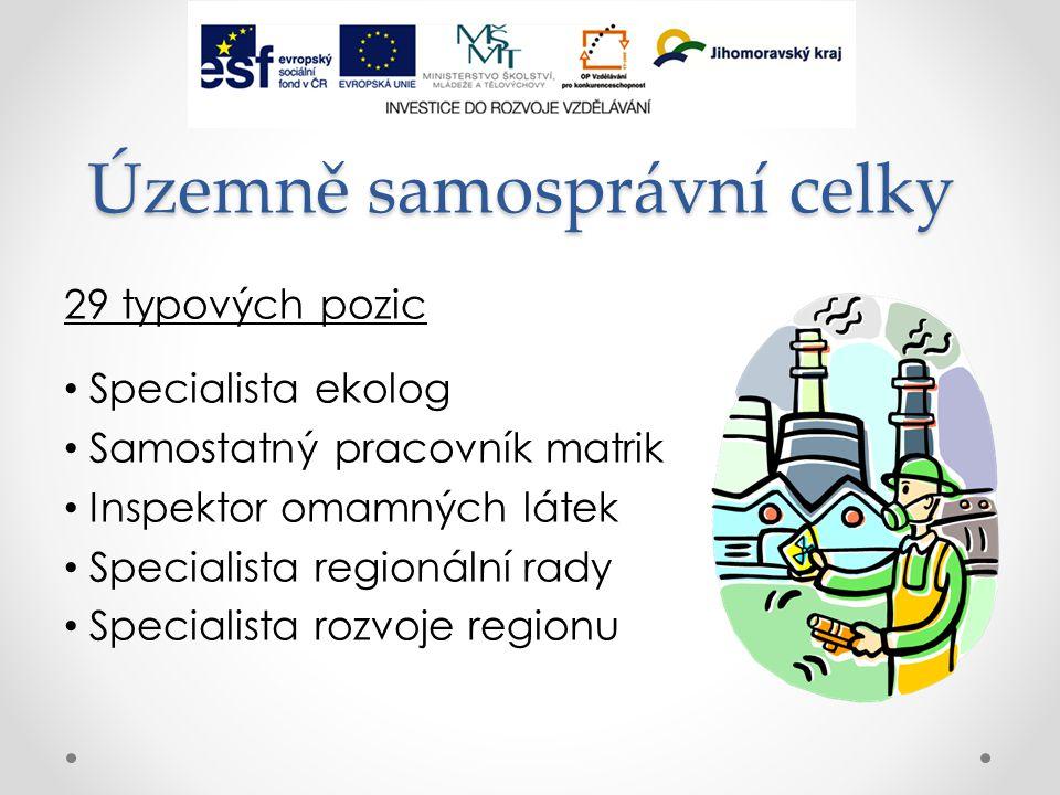 Územně samosprávní celky 29 typových pozic Specialista ekolog Samostatný pracovník matrik Inspektor omamných látek Specialista regionální rady Specialista rozvoje regionu