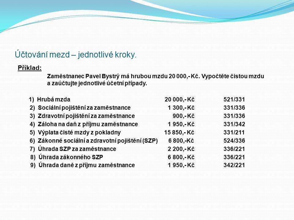 Účtování mezd – jednotlivé kroky. Příklad: Zaměstnanec Pavel Bystrý má hrubou mzdu 20 000,- Kč. Vypočtěte čistou mzdu a zaúčtujte jednotlivé účetní př