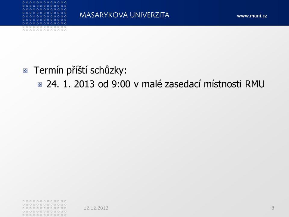 Termín příští schůzky: 24. 1. 2013 od 9:00 v malé zasedací místnosti RMU 12.12.20128
