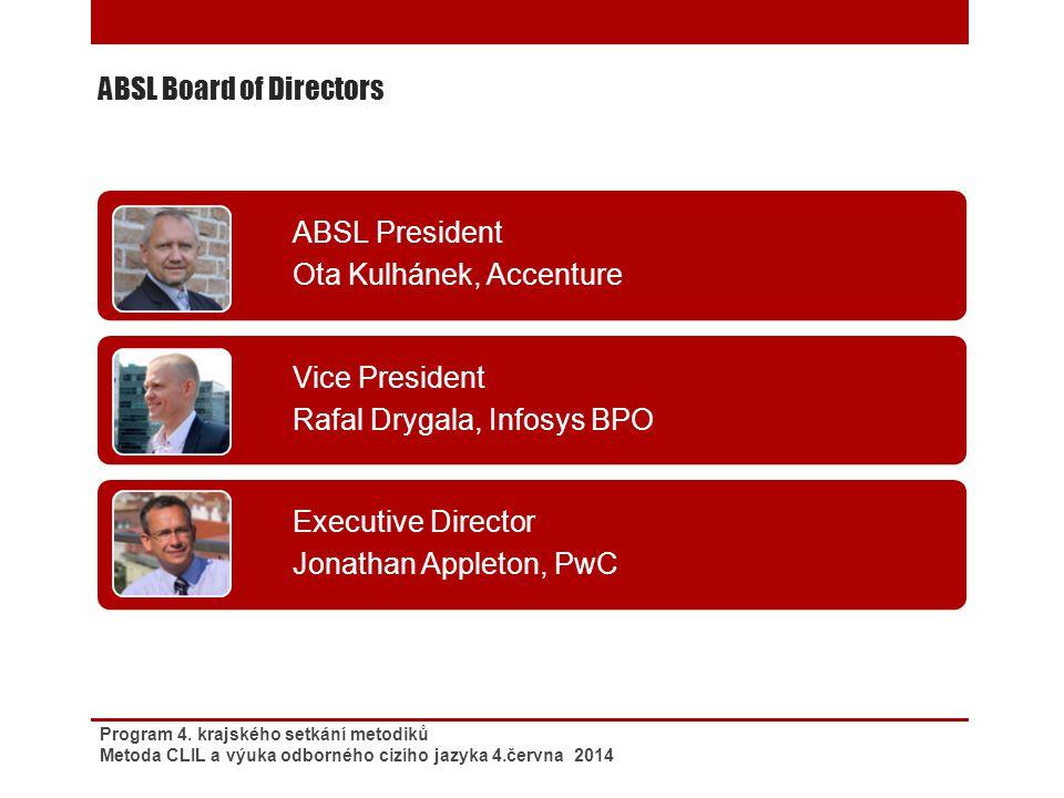 ABSL Board of Directors Program 4. krajského setkání metodiků Metoda CLIL a výuka odborného cizího jazyka 4.června 2014 ABSL President Ota Kulhánek, A