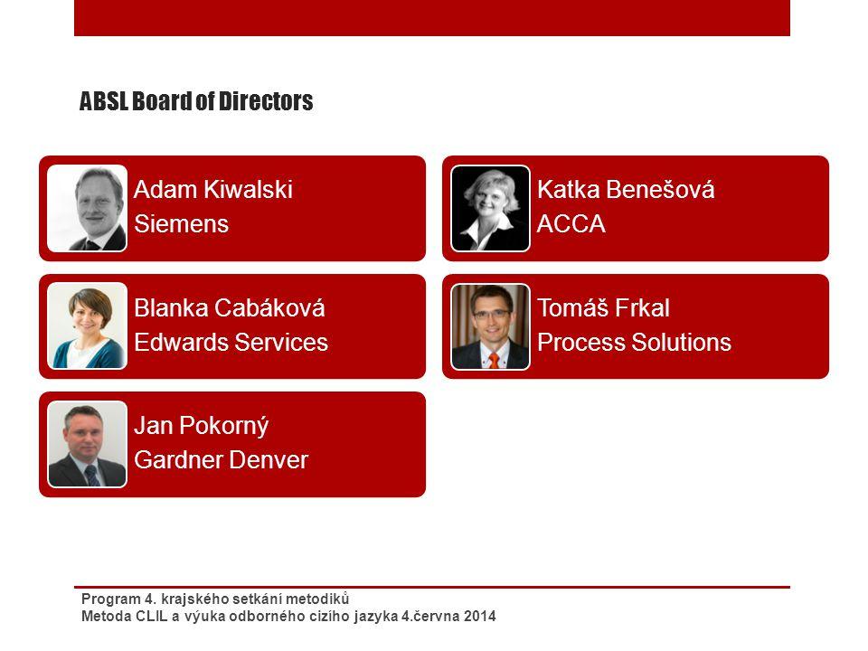 ABSL Board of Directors Program 4. krajského setkání metodiků Metoda CLIL a výuka odborného cizího jazyka 4.června 2014 Adam Kiwalski Siemens Blanka C