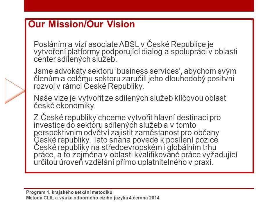 Program 4. krajského setkání metodiků Metoda CLIL a výuka odborného cizího jazyka 4.června 2014 Our Mission/Our Vision Posláním a vizí asociate ABSL v