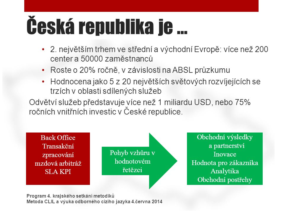 Česká republika je... Program 4. krajského setkání metodiků Metoda CLIL a výuka odborného cizího jazyka 4.června 2014 2. největším trhem ve střední a