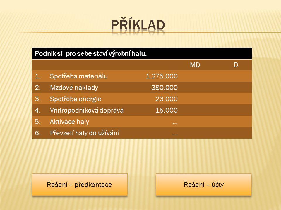 Podnik si pro sebe staví výrobní halu. MDD 1.Spotřeba materiálu1.275.000 2.Mzdové náklady380.000 3.Spotřeba energie23.000 4.Vnitropodniková doprava15.
