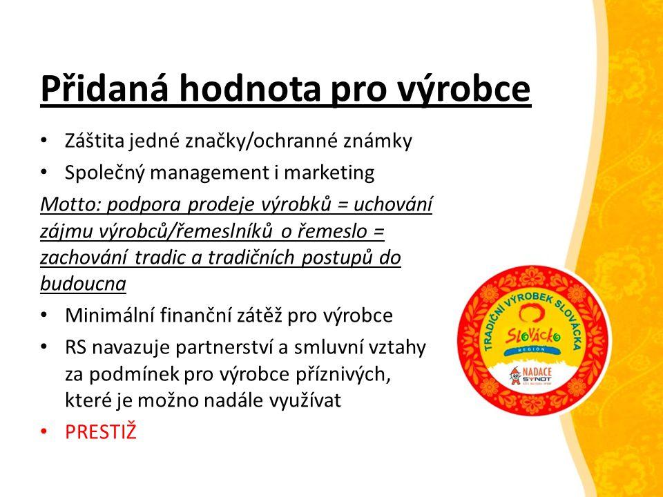 Přidaná hodnota pro výrobce Záštita jedné značky/ochranné známky Společný management i marketing Motto: podpora prodeje výrobků = uchování zájmu výrob