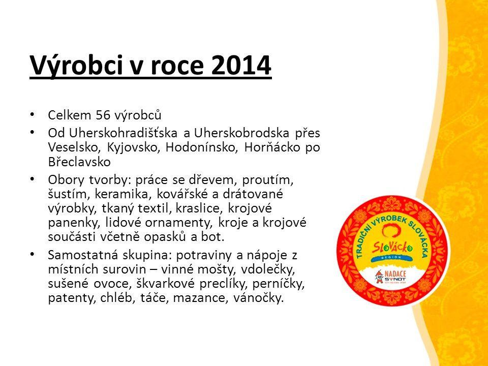 Výrobci v roce 2014 Celkem 56 výrobců Od Uherskohradišťska a Uherskobrodska přes Veselsko, Kyjovsko, Hodonínsko, Horňácko po Břeclavsko Obory tvorby: