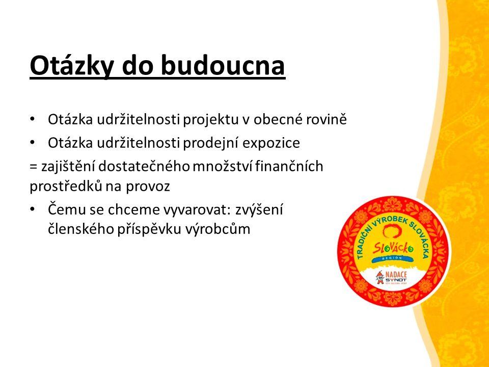 Otázky do budoucna Otázka udržitelnosti projektu v obecné rovině Otázka udržitelnosti prodejní expozice = zajištění dostatečného množství finančních p