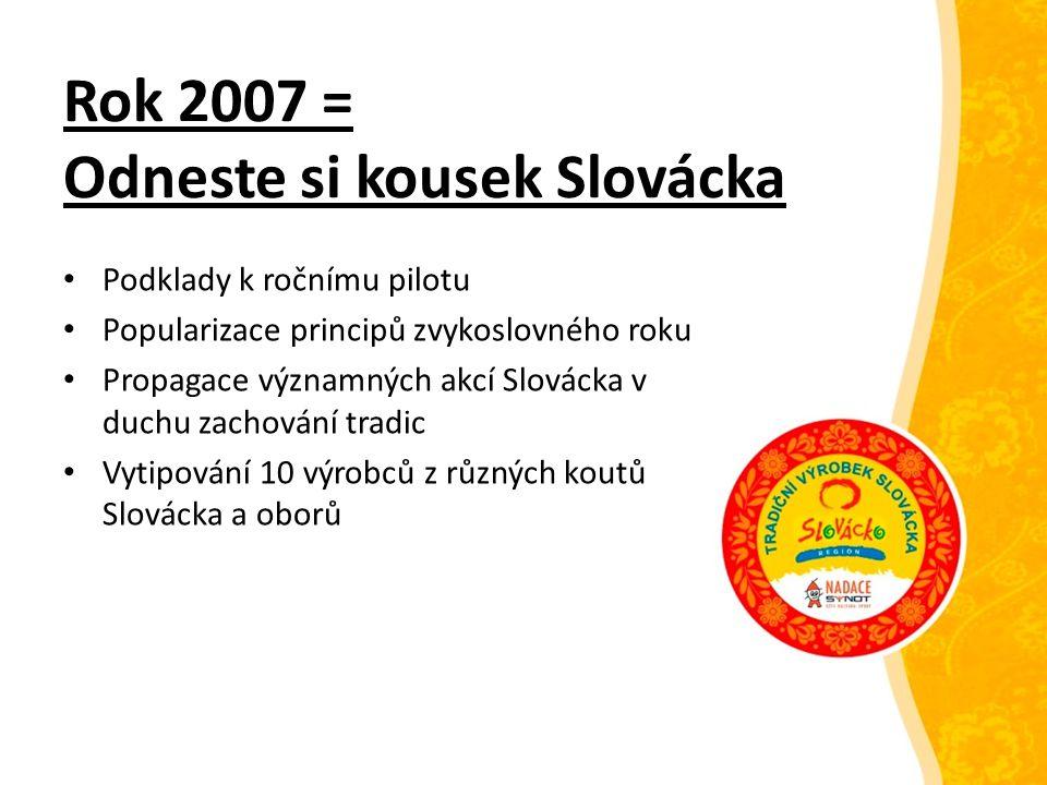Rok 2008 = Odneste si kousek Slovácka Proběhl zkušební rok Klíčová záležitost = vytipování 10 výrobců z různých koutů Slovácka a oborů Myšlenka k dlouhodobějším záměrům