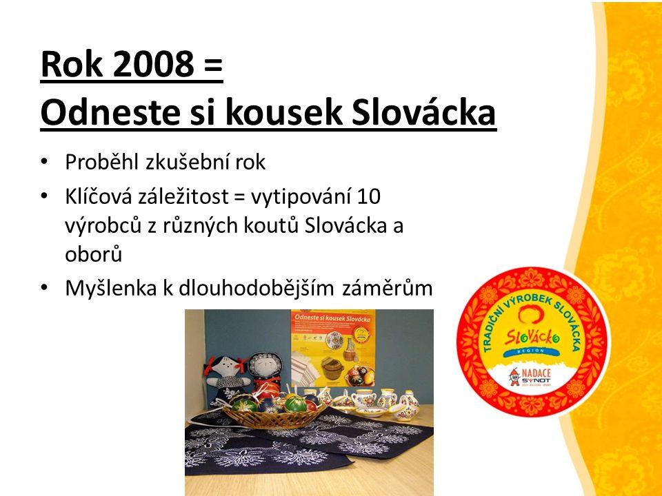Rok 2008 = Odneste si kousek Slovácka Proběhl zkušební rok Klíčová záležitost = vytipování 10 výrobců z různých koutů Slovácka a oborů Myšlenka k dlou