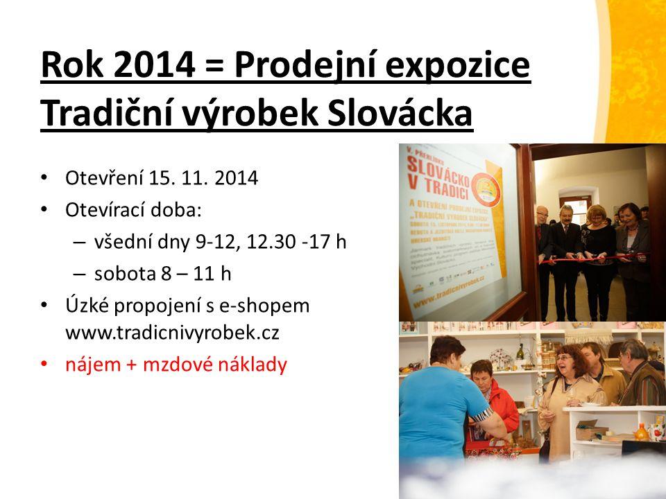 Rok 2014 = Prodejní expozice Tradiční výrobek Slovácka Otevření 15. 11. 2014 Otevírací doba: – všední dny 9-12, 12.30 -17 h – sobota 8 – 11 h Úzké pro