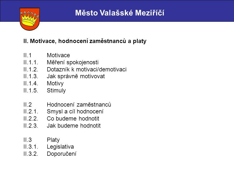 Město Valašské Meziříčí II. Motivace, hodnocení zaměstnanců a platy II.1 Motivace II.1.1. Měření spokojenosti II.1.2. Dotazník k motivaci/demotivaci I