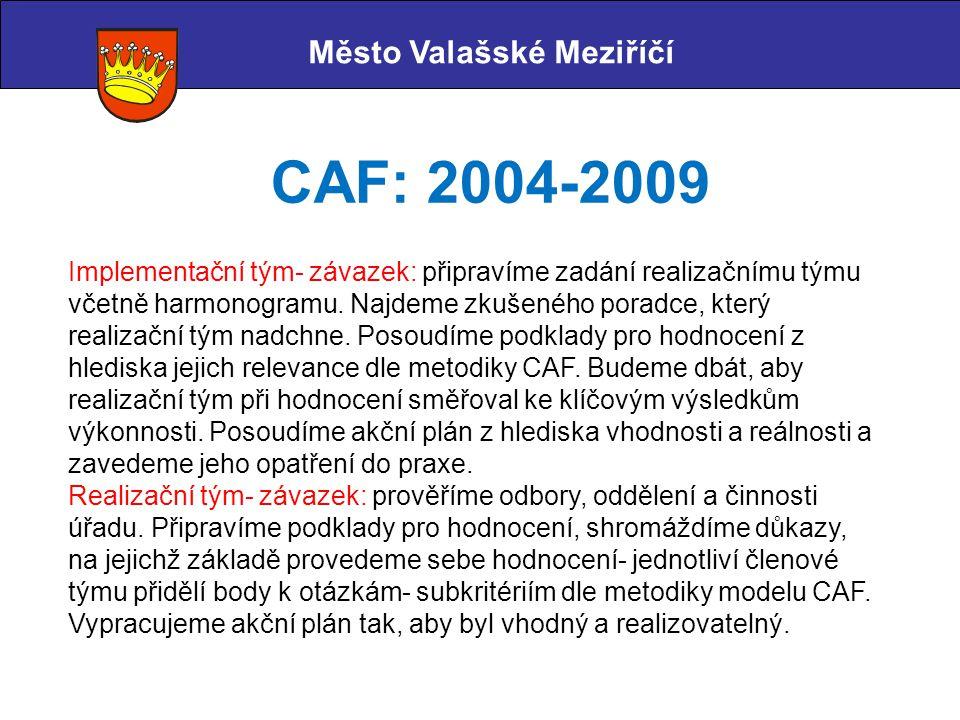 Město Valašské Meziříčí CAF: 2004-2009 Implementační tým- závazek: připravíme zadání realizačnímu týmu včetně harmonogramu. Najdeme zkušeného poradce,