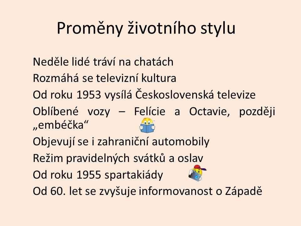 Proměny životního stylu Neděle lidé tráví na chatách Rozmáhá se televizní kultura Od roku 1953 vysílá Československá televize Oblíbené vozy – Felície