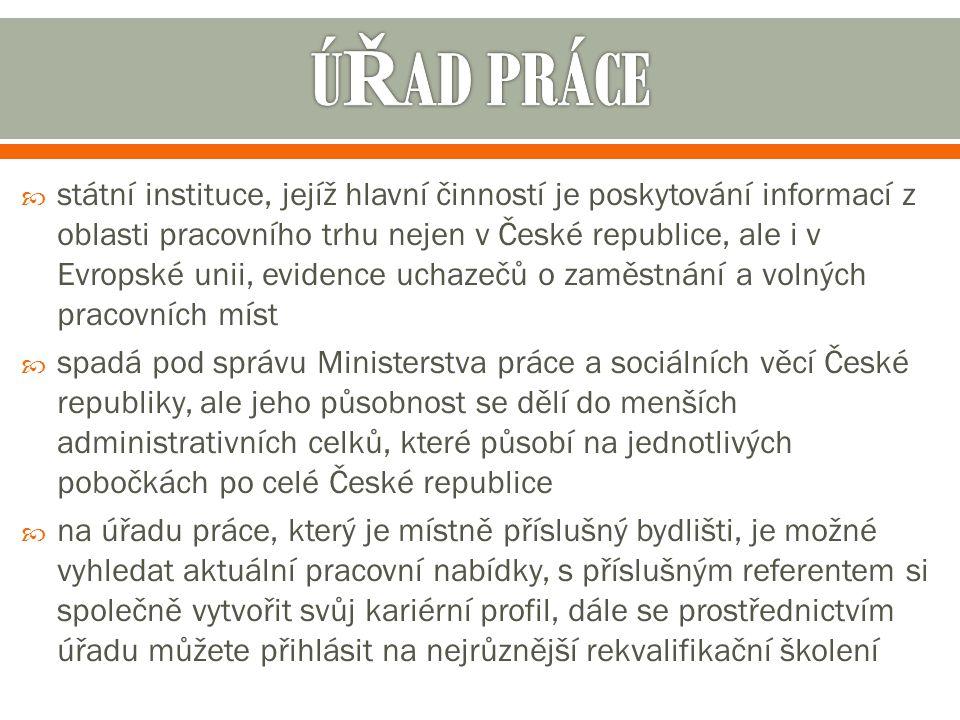  státní instituce, jejíž hlavní činností je poskytování informací z oblasti pracovního trhu nejen v České republice, ale i v Evropské unii, evidence