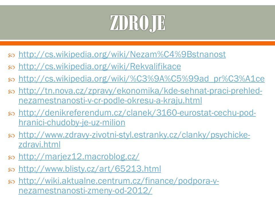  http://cs.wikipedia.org/wiki/Nezam%C4%9Bstnanost http://cs.wikipedia.org/wiki/Nezam%C4%9Bstnanost  http://cs.wikipedia.org/wiki/Rekvalifikace http://cs.wikipedia.org/wiki/Rekvalifikace  http://cs.wikipedia.org/wiki/%C3%9A%C5%99ad_pr%C3%A1ce http://cs.wikipedia.org/wiki/%C3%9A%C5%99ad_pr%C3%A1ce  http://tn.nova.cz/zpravy/ekonomika/kde-sehnat-praci-prehled- nezamestnanosti-v-cr-podle-okresu-a-kraju.html http://tn.nova.cz/zpravy/ekonomika/kde-sehnat-praci-prehled- nezamestnanosti-v-cr-podle-okresu-a-kraju.html  http://denikreferendum.cz/clanek/3160-eurostat-cechu-pod- hranici-chudoby-je-uz-milion http://denikreferendum.cz/clanek/3160-eurostat-cechu-pod- hranici-chudoby-je-uz-milion  http://www.zdravy-zivotni-styl.estranky.cz/clanky/psychicke- zdravi.html http://www.zdravy-zivotni-styl.estranky.cz/clanky/psychicke- zdravi.html  http://marjez12.macroblog.cz/ http://marjez12.macroblog.cz/  http://www.blisty.cz/art/65213.html http://www.blisty.cz/art/65213.html  http://wiki.aktualne.centrum.cz/finance/podpora-v- nezamestnanosti-zmeny-od-2012/ http://wiki.aktualne.centrum.cz/finance/podpora-v- nezamestnanosti-zmeny-od-2012/