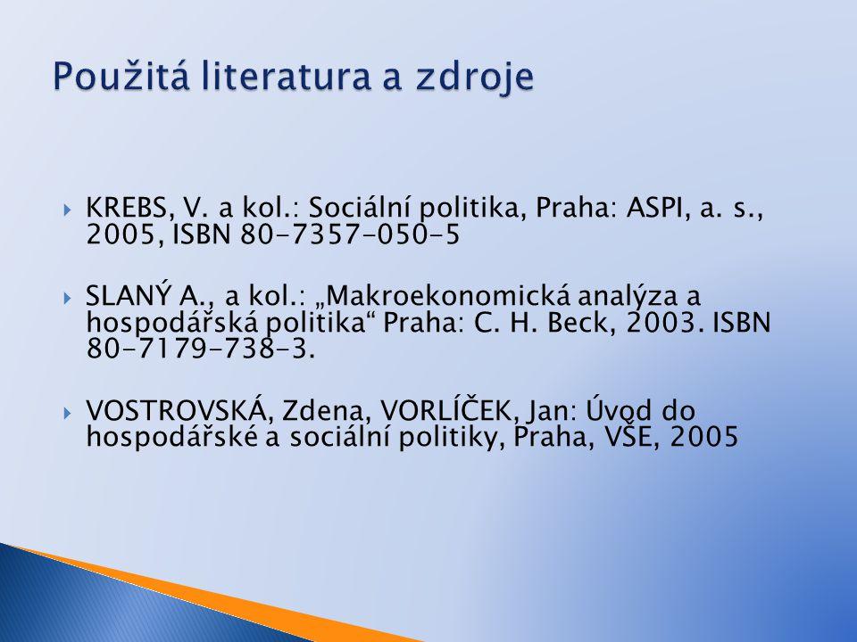 " KREBS, V. a kol.: Sociální politika, Praha: ASPI, a. s., 2005, ISBN 80-7357-050-5  SLANÝ A., a kol.: ""Makroekonomická analýza a hospodářská politik"