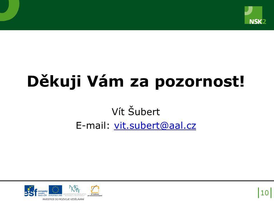 Děkuji Vám za pozornost! Vít Šubert E-mail: vit.subert@aal.czvit.subert@aal.cz 10