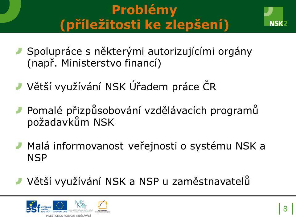 Problémy (příležitosti ke zlepšení) Spolupráce s některými autorizujícími orgány (např. Ministerstvo financí) Větší využívání NSK Úřadem práce ČR Poma