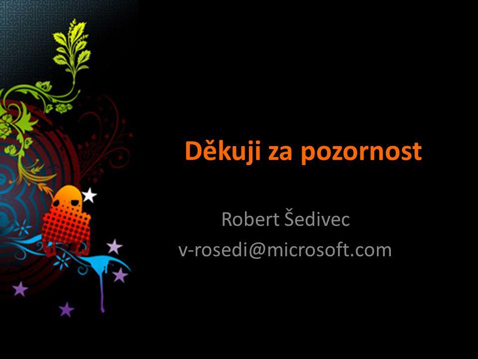 Děkuji za pozornost Robert Šedivec v-rosedi@microsoft.com