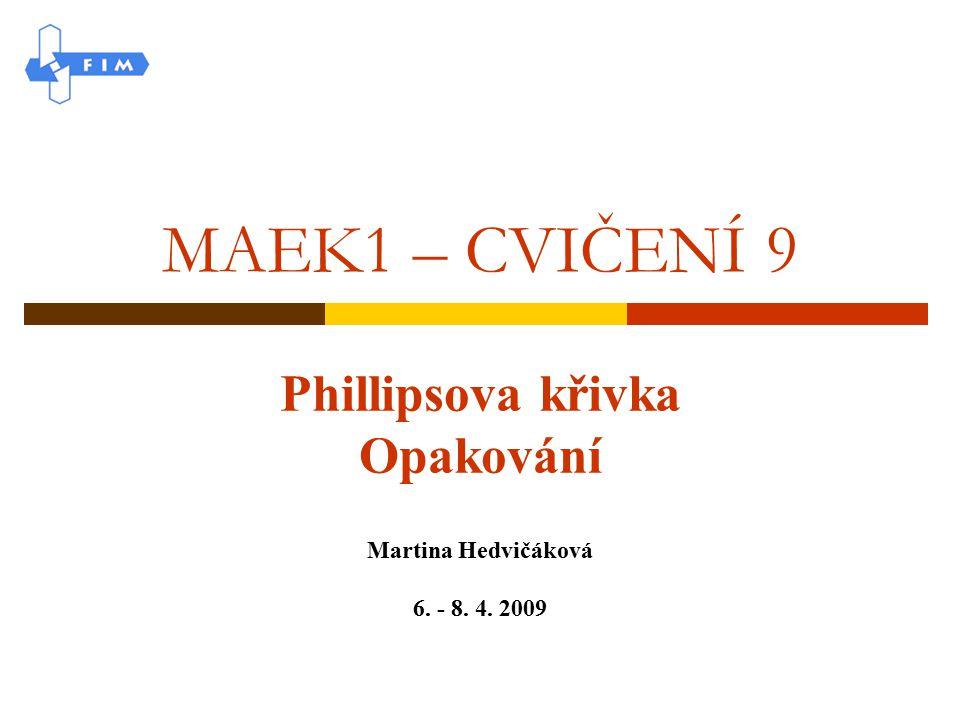 MAEK1 – CVIČENÍ 9 Phillipsova křivka Opakování Martina Hedvičáková 6. - 8. 4. 2009