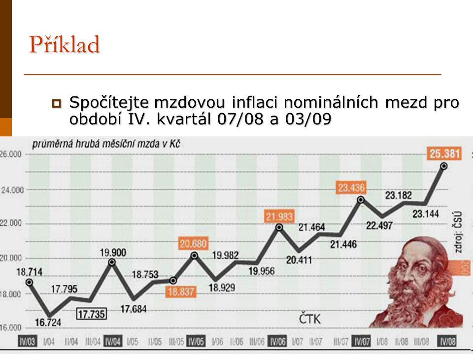 Příklad  Spočítejte mzdovou inflaci nominálních mezd pro období IV. kvartál 07/08 a 03/09
