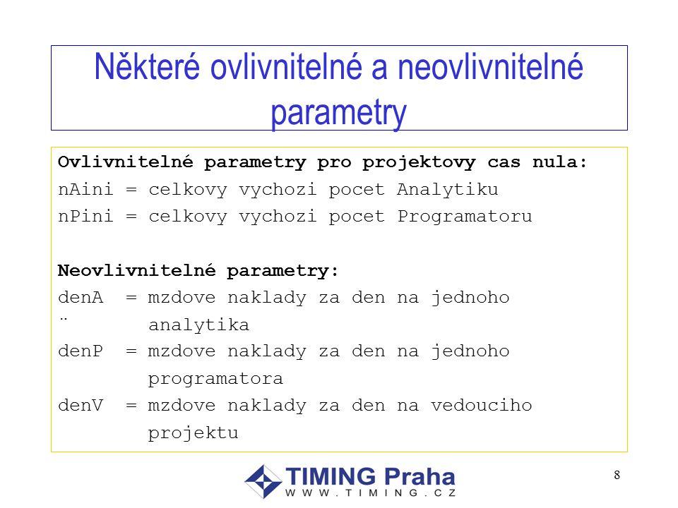 8 Některé ovlivnitelné a neovlivnitelné parametry Ovlivnitelné parametry pro projektovy cas nula: nAini = celkovy vychozi pocet Analytiku nPini = celkovy vychozi pocet Programatoru Neovlivnitelné parametry: denA = mzdove naklady za den na jednoho ¨ analytika denP = mzdove naklady za den na jednoho programatora denV = mzdove naklady za den na vedouciho projektu