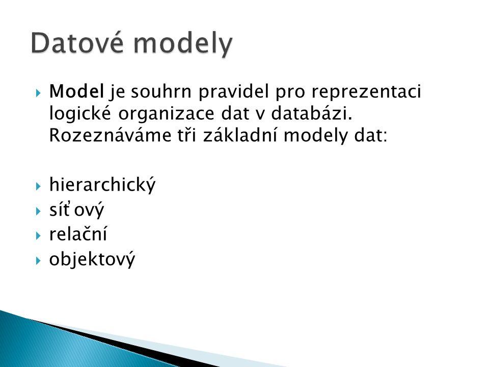  Model je souhrn pravidel pro reprezentaci logické organizace dat v databázi. Rozeznáváme tři základní modely dat:  hierarchický  síťový  relační
