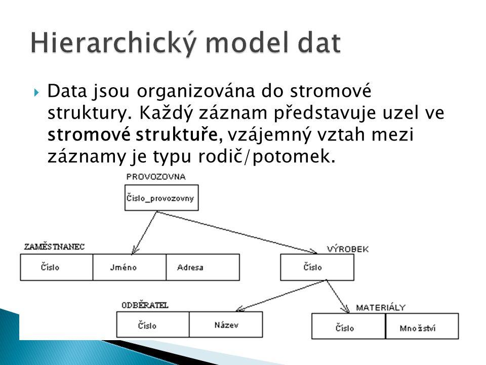  Data jsou organizována do stromové struktury. Každý záznam představuje uzel ve stromové struktuře, vzájemný vztah mezi záznamy je typu rodič/potomek