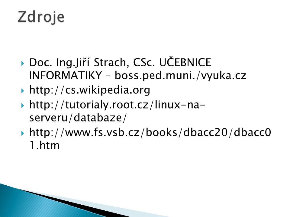  Doc. Ing.Jiří Strach, CSc. UČEBNICE INFORMATIKY – boss.ped.muni./vyuka.cz  http://cs.wikipedia.org  http://tutorialy.root.cz/linux-na- serveru/dat