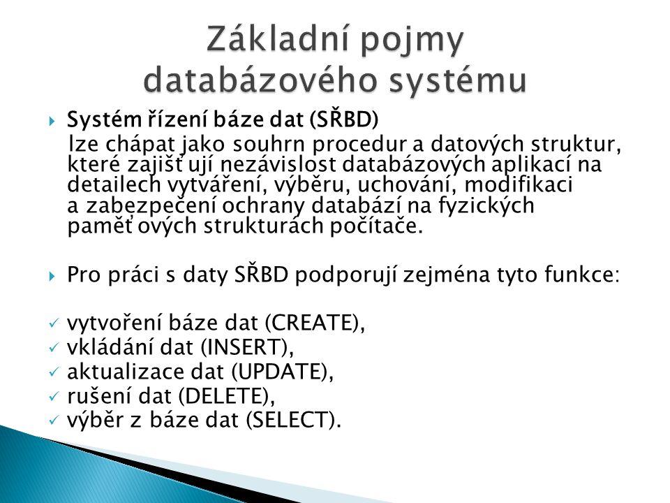  Systém řízení báze dat (SŘBD) lze chápat jako souhrn procedur a datových struktur, které zajišťují nezávislost databázových aplikací na detailech vy