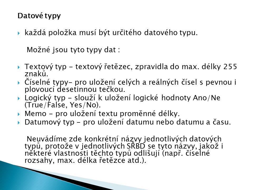 Datové typy  každá položka musí být určitého datového typu. Možné jsou tyto typy dat :  Textový typ - textový řetězec, zpravidla do max. délky 255 z