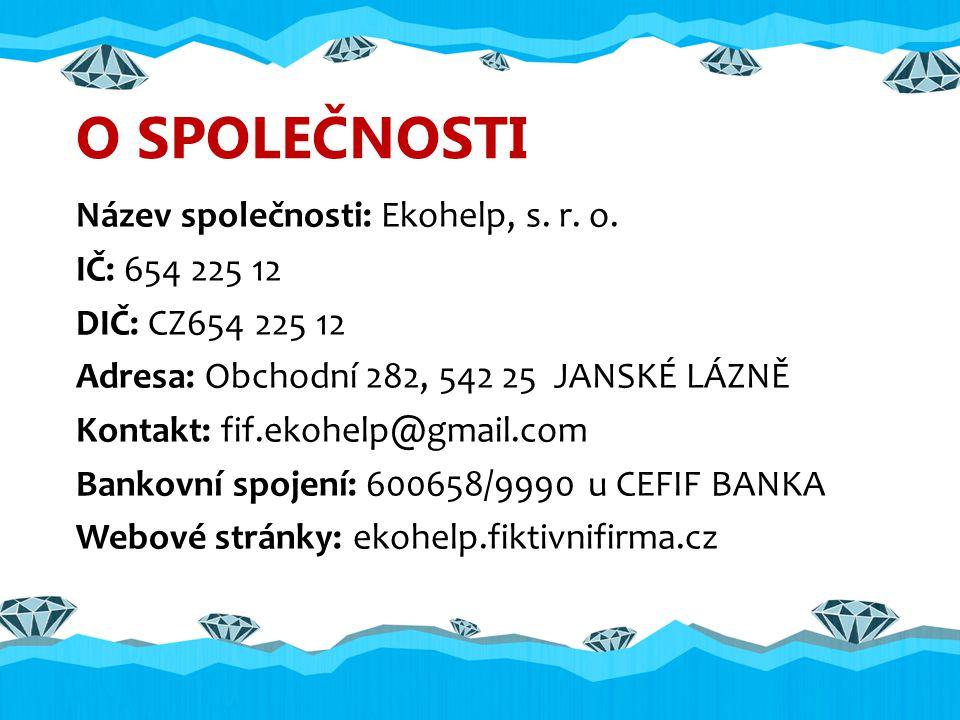 O SPOLEČNOSTI Název společnosti: Ekohelp, s. r. o.