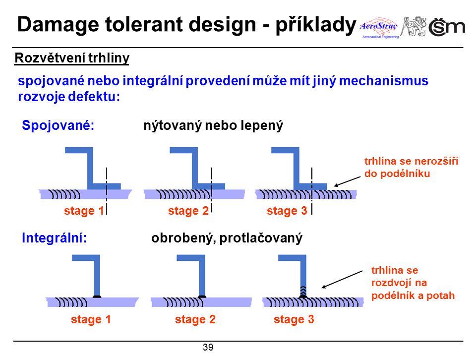39 Spojované: nýtovaný nebo lepený Integrální: obrobený, protlačovaný stage 1stage 2stage 3 stage 1stage 2stage 3 spojované nebo integrální provedení může mít jiný mechanismus rozvoje defektu: trhlina se nerozšíří do podélníku trhlina se rozdvojí na podélník a potah Rozvětvení trhliny Damage tolerant design - příklady