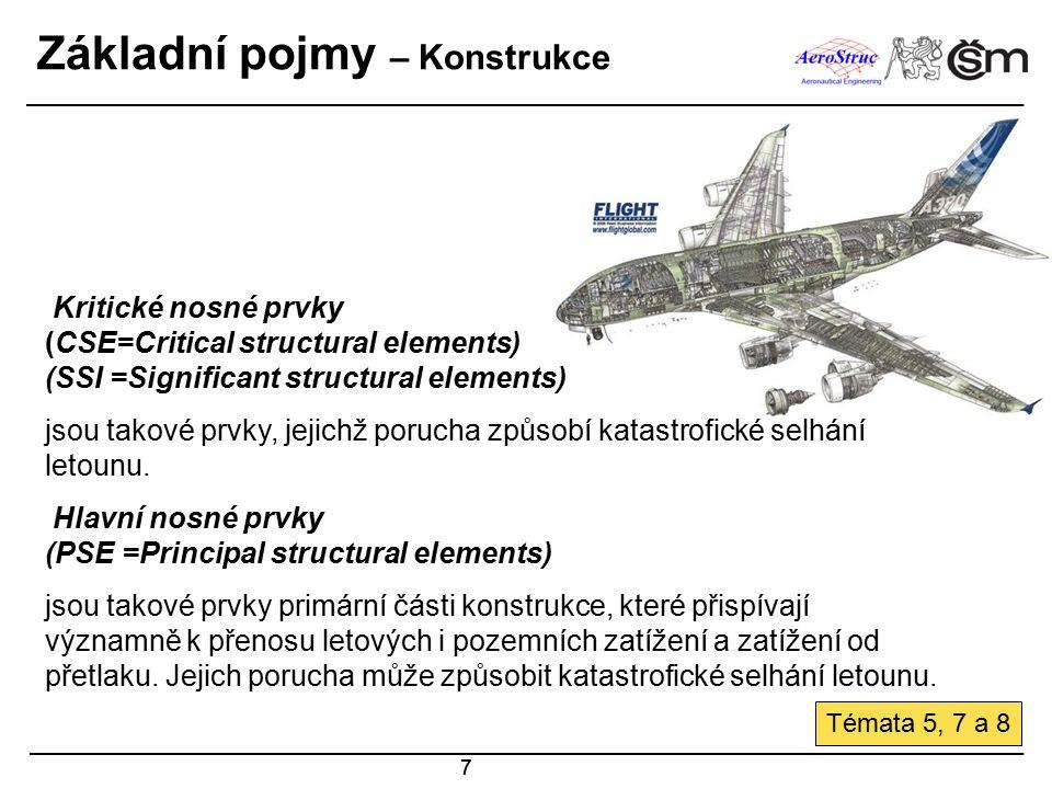 8 Klasifikace konstrukcí Sekundární konstrukce SSI Celá konstrukce = AAS = PSE Primární konstrukce Základní klasifikace AAS: Airworthiness affected structure (Části u nichž se prokazuje letová způsobilost) PSE:Principal structural element (Hlavní nosné prvky primární konstrukce) SSI:Significant structural item ( Význačné (kritické ) nosné prvky)