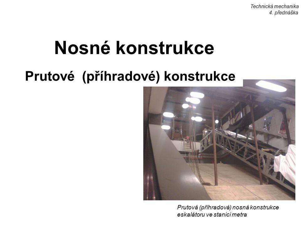 Technická mechanika 4. přednáška Prutová (příhradová) nosná konstrukce eskalátoru ve stanici metra Nosné konstrukce Prutové (příhradové) konstrukce