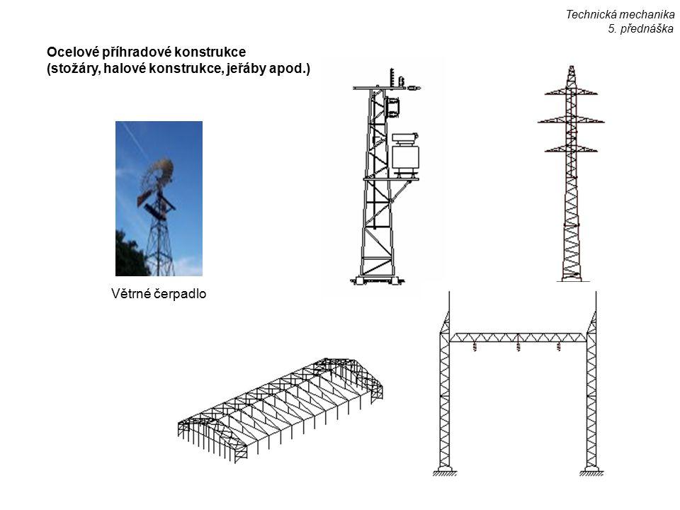 Ocelové příhradové konstrukce (stožáry, halové konstrukce, jeřáby apod.) Větrné čerpadlo Technická mechanika 5. přednáška