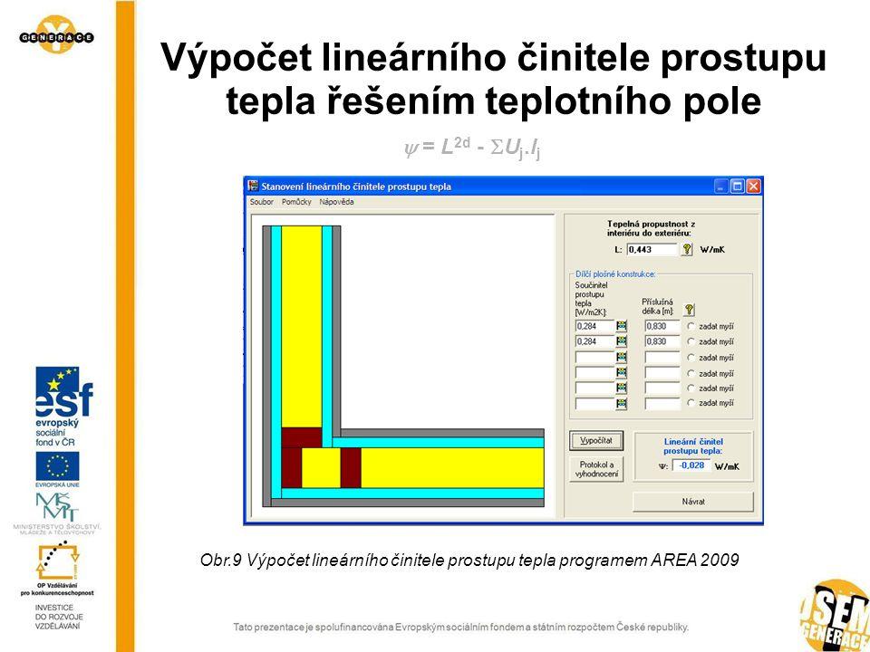 Výpočet lineárního činitele prostupu tepla řešením teplotního pole  = L 2d -  U j.l j Obr.9 Výpočet lineárního činitele prostupu tepla programem AREA 2009