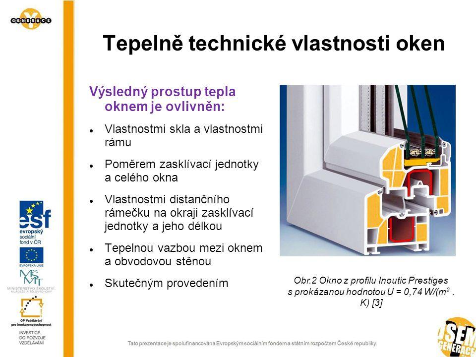 Výsledný prostup tepla oknem je ovlivněn: Vlastnostmi skla a vlastnostmi rámu Poměrem zasklívací jednotky a celého okna Vlastnostmi distančního rámečku na okraji zasklívací jednotky a jeho délkou Tepelnou vazbou mezi oknem a obvodovou stěnou Skutečným provedením Tepelně technické vlastnosti oken Obr.2 Okno z profilu Inoutic Prestiges s prokázanou hodnotou U = 0,74 W/(m 2.