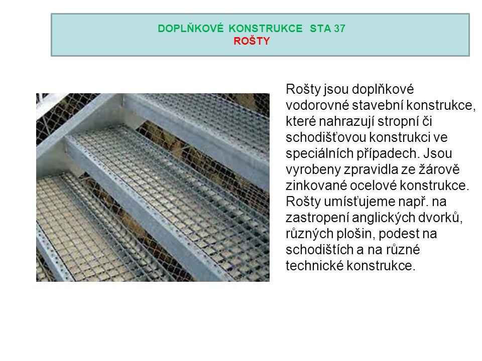 DOPLŇKOVÉ KONSTRUKCE STA 37 ROŠTY Rošty jsou doplňkové vodorovné stavební konstrukce, které nahrazují stropní či schodišťovou konstrukci ve speciálníc