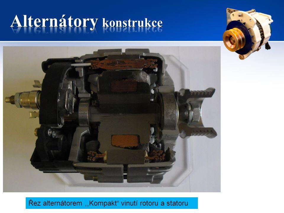 """Řez alternátorem,,Kompakt"""" vinutí rotoru a statoru"""