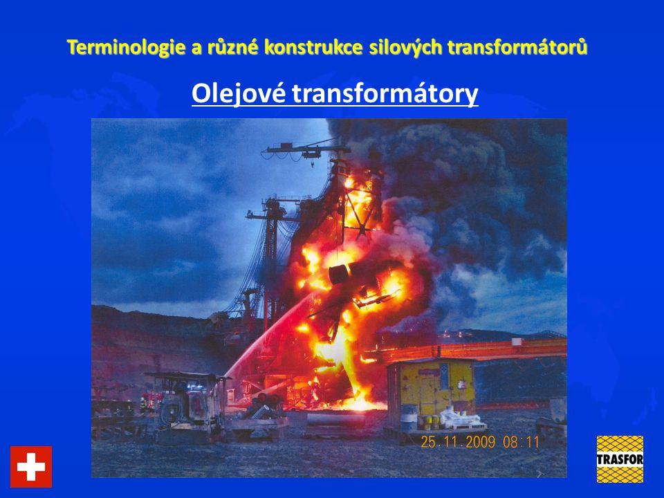 Terminologie a různé konstrukce silových transformátorů Transformátory: - olejové: s rezervoárem x hermetizované s olejem minerálním x degradovatelným x nehořlavým