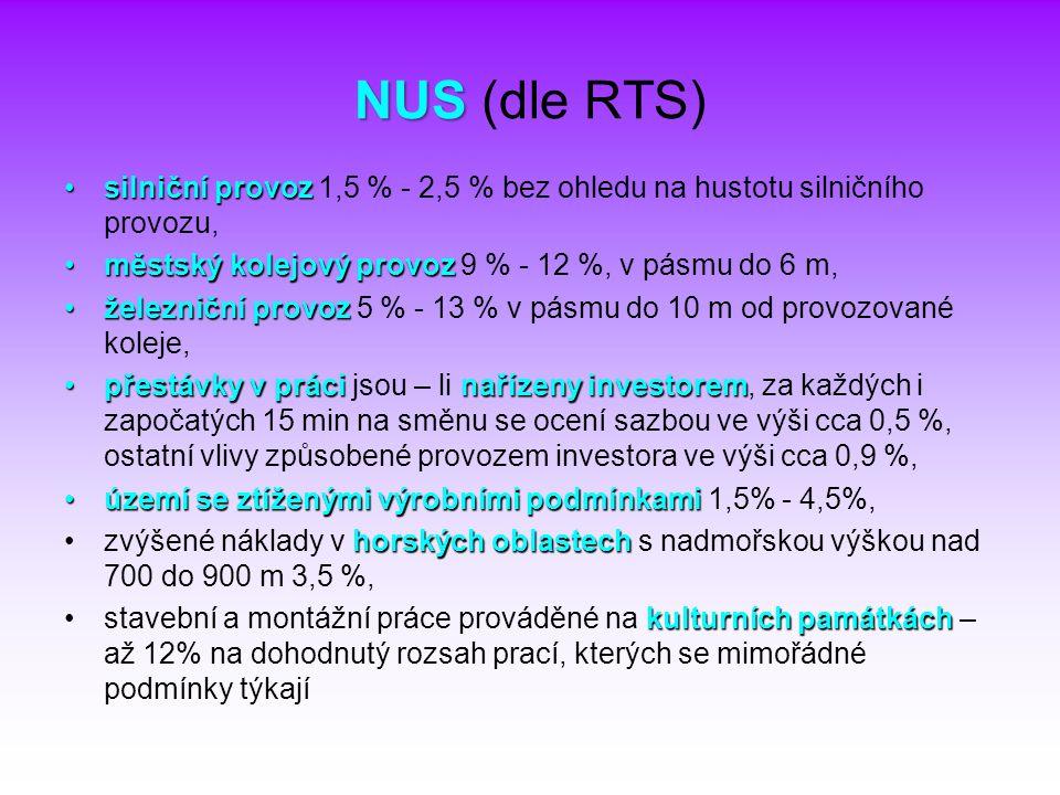 NUS NUS (dle RTS) silniční provozsilniční provoz 1,5 % - 2,5 % bez ohledu na hustotu silničního provozu, městský kolejový provozměstský kolejový provo