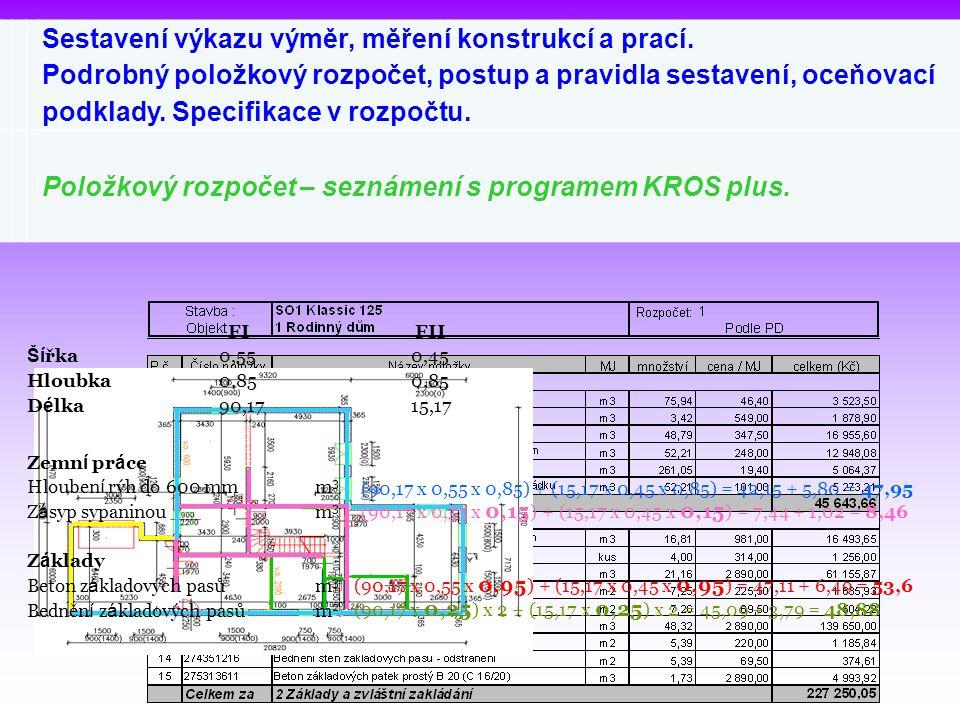 Sestavení výkazu výměr, měření konstrukcí a prací. Podrobný položkový rozpočet, postup a pravidla sestavení, oceňovací podklady. Specifikace v rozpočt
