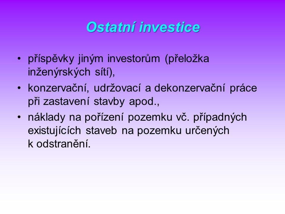 Ostatní investice příspěvky jiným investorům (přeložka inženýrských sítí), konzervační, udržovací a dekonzervační práce při zastavení stavby apod., ná
